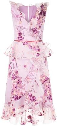 Marchesa floral print midi dress