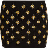 Balmain Embellished Ribbed Cotton-blend Mini Skirt - Black