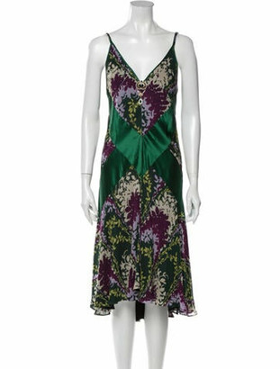 Dolce & Gabbana Silk Midi Length Dress Green