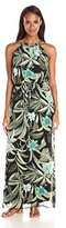 Connected Apparel Women's Chain Halter Print Chifon Halter Dress