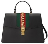 Gucci Maxi Sylvie Top Handle Leather Shoulder Bag - Red