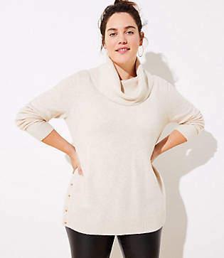 LOFT Plus Side Button Cowl Tunic Sweater