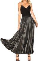 Haoduoyi Women's Metallic Pleated High Waist Maxi Skirt(XL,)