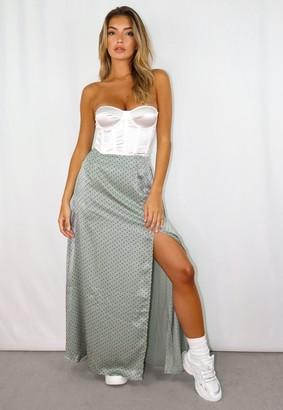 Missguided Petite Sage Polka Dot Satin Split Maxi Skirt