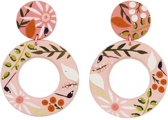 Emily Laura Designs Pink Two Tone Floral Circle Drop Earrings