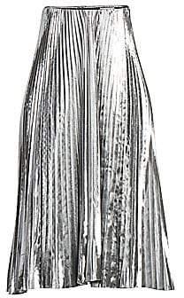 Balenciaga Women's Pleated Metallic Midi Skirt
