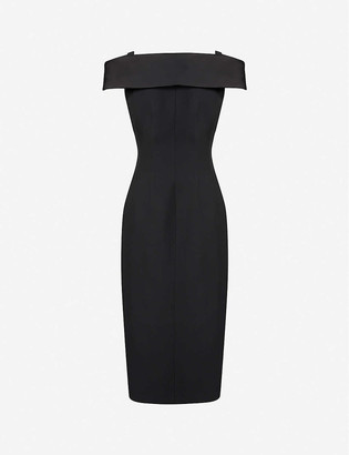 Alberta Ferretti V-neck off-the-shoulder woven midi dress