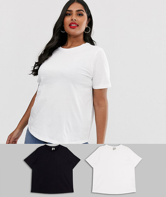 Asos DESIGN Curve ultimate organic cotton crew neck t-shirt 2 pack SAVE