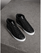 Burberry Check-quilted Leather High-top Trainers