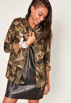 Missguided Camo Utility Zipped Jacket Green