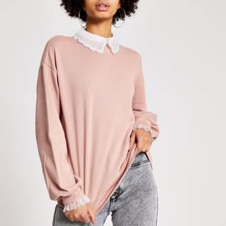 River Island Womens Pink embellished scallop collar sweatshirt