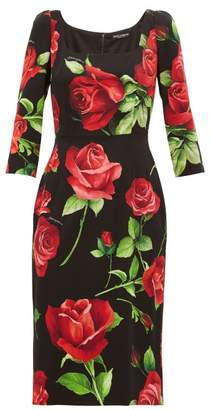 Dolce & Gabbana Rose-print Silk-blend Crepe Dress - Womens - Black Multi