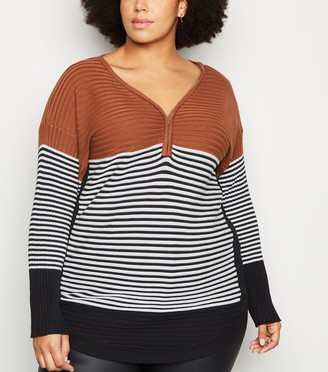 New Look Curves Stripe Zip Neck Jumper