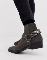 Asos Design DESIGN cuban heel western chelsea boots in grey suede with under strap and hardware details
