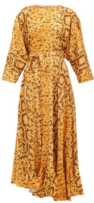 Preen by Thornton Bregazzi Claudia Snake-print Midi Dress - Womens - Yellow Print