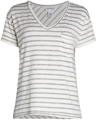 For The Republic Striped V-Neck T-Shirt
