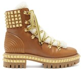 Christian Louboutin Yeti Donna Faux-fur Trim Studded Leather Boots - Womens - Tan