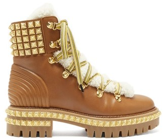 Christian Louboutin Yeti Donna Faux-fur Trim Studded Leather Boots - Tan