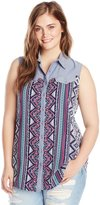 Yours Clothing YoursClothing Women's Plus-Size Tribal Print Sleeveless Shirt with Denim Insert and Trim