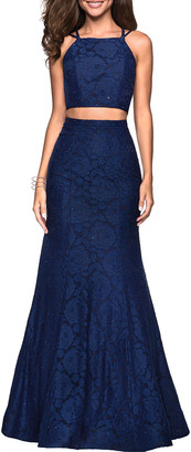 La Femme 2-Piece Strappy Mermaid Dress Set