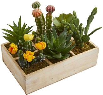 Nearly Natural 11-In. Mixed Succulent Garden in Tray Artificial Plant