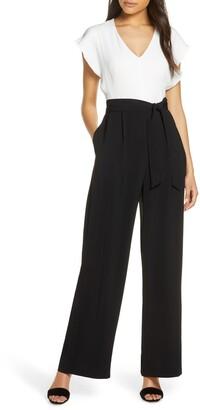 Eliza J Short Sleeve Two-Tone Jumpsuit