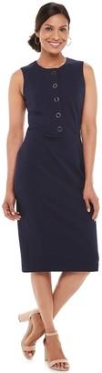 Chaps Women's Button-Front Sheath Dress