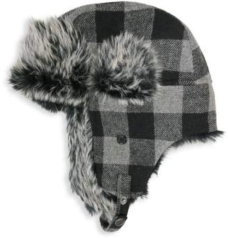 London Fog Buffalo Check Faux Fur-Lined Trapper Hat