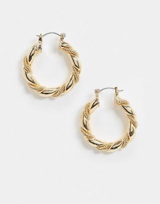 ASOS DESIGN hoop earrings with ball twist in gold tone