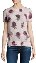 Kate Spade Short-Sleeve Rose Pullover Sweater, Plum Dawn