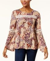 Style&Co. Style & Co Printed Crochet Swing Top, Created for Macy's