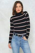 Nasty Gal nastygal Stripe Side of Wrong Turtleneck Sweater