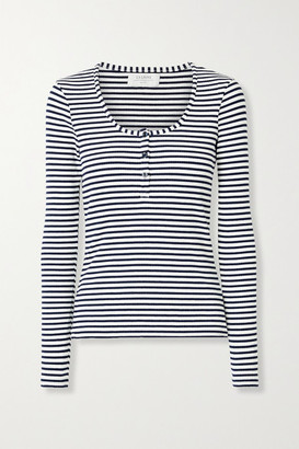 La Ligne Dominique Striped Ribbed Stretch-cotton Jersey Top - White
