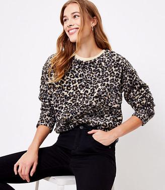 LOFT Leopard Print Cozy Sherpa Sweatshirt