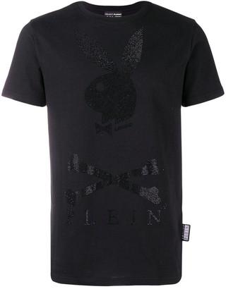 Philipp Plein X Playboy crystal logo T-shirt