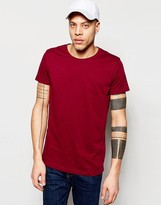 Weekday Alex Wide Neck T-Shirt in Dark Red Marl