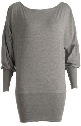 Comfiestyle New Womens Big Plus Size Long Sleeve Off/ON Shoulder One Shoulder Plain Jersey Batwing Top. UK 12-26 Grey
