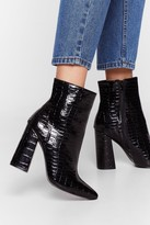 Womens Croc Draggin' Your Feet Heeled Ankle Boots - black - 3