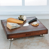 """John Boos 12-Inch Square Blended Walnut Cutting Board with Stainless Steel Bun Feet, 1-1/2"""" thick"""