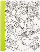 "American Crafts Hall Pass Adult Coloring Composition Notebook 7.5""X9.75""-Dinosaur"