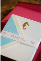 The Well Appointed House Gold Seahorse Engraved Notecards with Sky Blue Envelope Liners - Set of 10 - IN STOCK IN OUR GREENWICH STORE FOR QUICK SHIPPING
