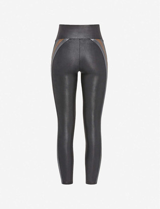 Spanx Active Striped high-rise faux-leather leggings