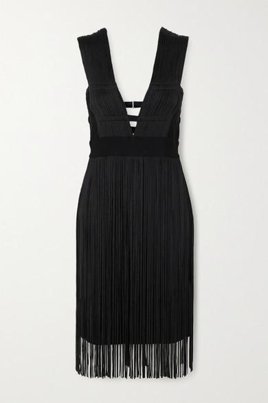 Herve Leger Fringed Cutout Stretch-knit Dress - Black