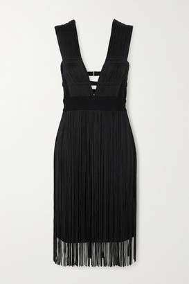 Herve Leger Fringed Cutout Stretch-knit Dress - Black
