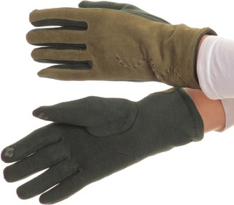 Sakkas 16164 - Lidy Leather Embroidered Comfortable Warm Snow Touch Screen Finger Gloves - Green - L/XL