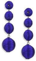 Kenneth Jay Lane Three Thread Ball Drop Earrings/Blue