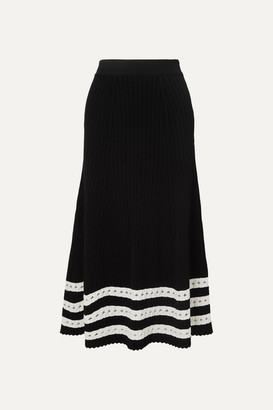 Alexander McQueen Pointelle-trimmed Cable-knit Midi Skirt - Black