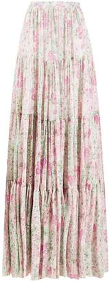 Giambattista Valli floral print silk skirt