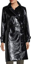 Diane von Furstenberg Patent Belted Double-Breasted Trench Coat