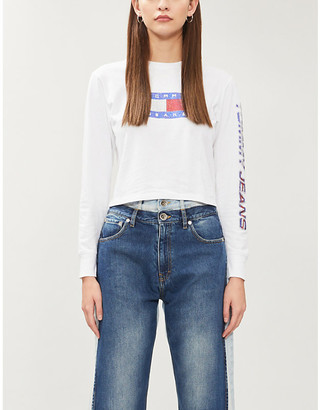Tommy Jeans Bling logo-embellished cotton-jersey top